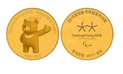 Korea PyeongChang 2018 Paralympic Winter Commemorative Coin 1000 Won Proof