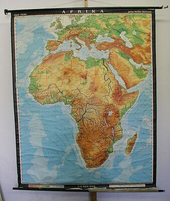 Schulwandkarte Afrika Africa physisch 1977 158x197cm vintage wall map poster pic