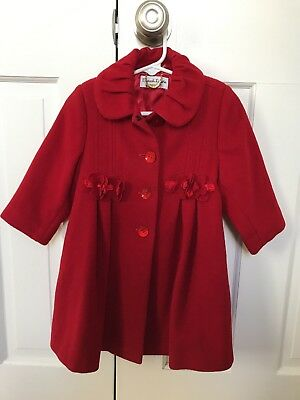 Girls Sarah Louise Red Wool Cashmere Winter Coat Jacket holiday Christmas 18 mth