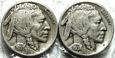 1935-D & 1938-D Buffalo Indian Nickels. F / VF Bold Dates & Mint Marks. #749