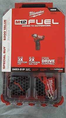 "2453-21P Milwaukee M12 Fuel 1/4"" Hex Impact Driver Kit"