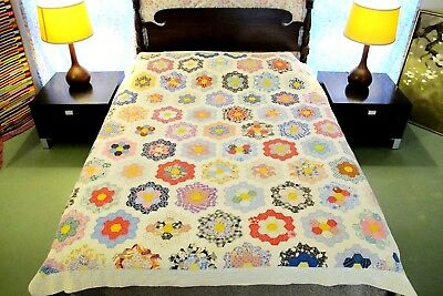 "Vintage Hand Sewn Feed Sack & Other Cottons FLOWER GARDEN QUILT 85"" x 70""; Good!"