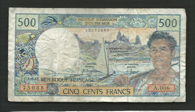 French Pacific Territories 1992 500 Francs P 1b Circulated