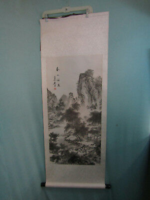 Vintage Chinese Scroll Wall Hanging Horse Mountain River w/ Mark & Writing
