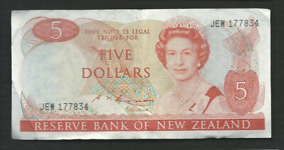 New Zealand 1985-89 5 Dollars P 171b Circulated