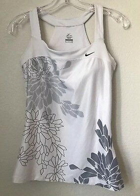 NIKE Dri Fit Women's Size Small White Floral Tank Built In Sports Bra Racerback