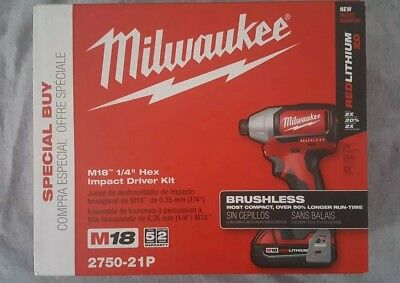 "2750-21P Milwaukee M18 Brushless 1/4"" Hex Impact Driver Kit"