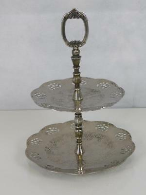 Mid 20th Century Silver Plated 2 Tier Cake Stand 19.5 x 26 cms