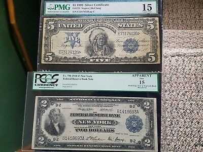 1899 5 silver certificate chief Fr.275 choice Fine 15 PMG
