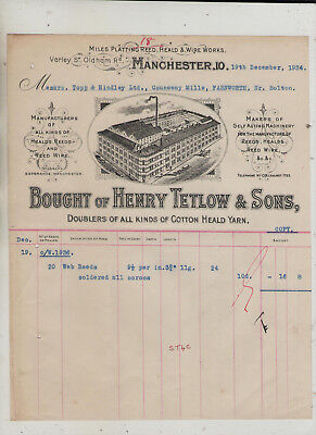 Illustrated  Manchester  Heald  Manufacturers  Invoice.