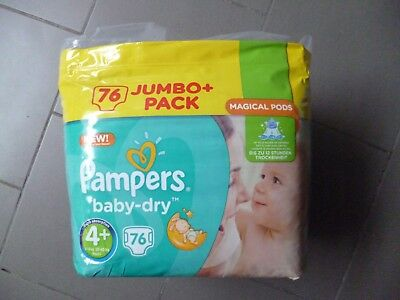 Paquet Jumbo+ pack de 76 langes Pampers baby-dry taille 4+ (9-18kg) (1)