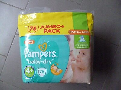 Paquet Jumbo+ pack de 76 langes Pampers baby-dry taille 4+ (9-18kg) (2)