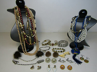 Vintage Costume Jewelry Faux Pearls Cloisonne Necklace Clip on Earrings AS IS