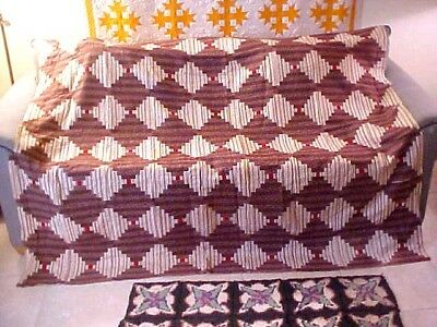 Antique Log Cabin Quilt  76 X 74 early 1900's