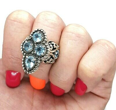 BLUE topaz Antique Style Ring, size 7 1/2 US, Sterling Silver NEW