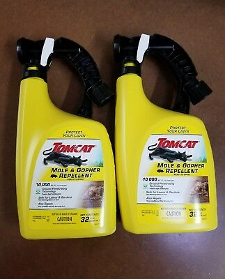 Lot of 2 Tomcat Mole and Gopher Repellent - (2) 32 oz. Bottle Ready-to-Spray