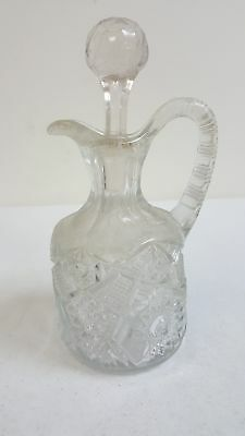 """Vintage Cut Glass Crystal Oil & Vinegar Cruets WITH STOPPERS 7"""" tall"""