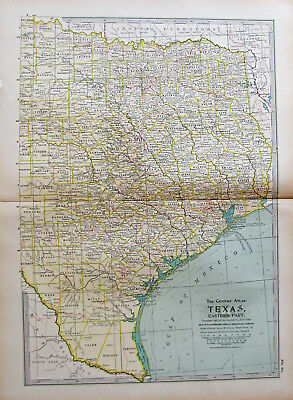Antique Map Eastern Texas 1898 South Texas Still Unsettled Highly Detailed Nice