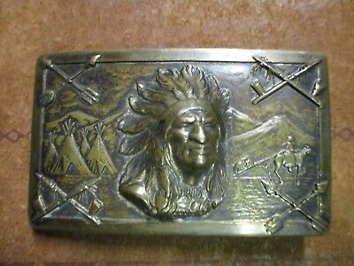 c.1925 Antique Old Southwestern Native American Indian Chief Brass Belt Buckle