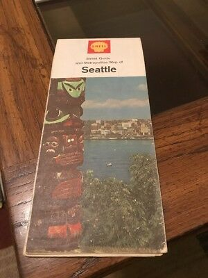 1967 Shell Seattle Vintage Road Map
