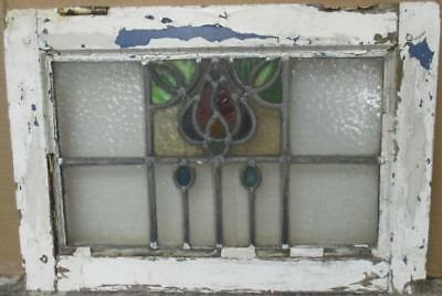 "MID SIZED OLD ENGLISH LEADED STAINED GLASS WINDOW Gorgeous Floral 23"" x 16"""