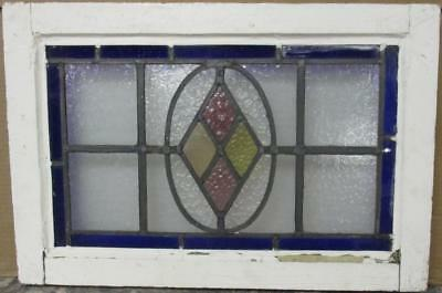 """OLD ENGLISH LEADED STAINED GLASS WINDOW Simple Diamond 21.25"""" x 14.25"""""""
