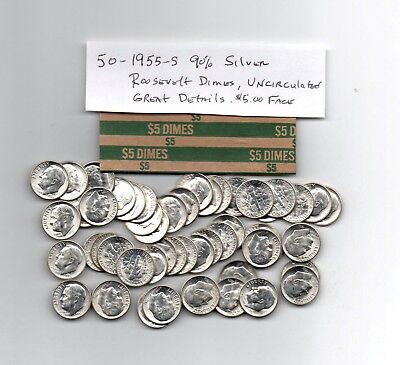 1955-S Roosevelt 90% Silver Dime 1 Roll Uncirculated 50 Coins Free Shipping