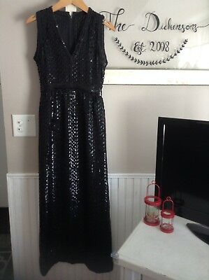 Vintage Black Sequened Glam Hollywood Maxi Dress XS/S