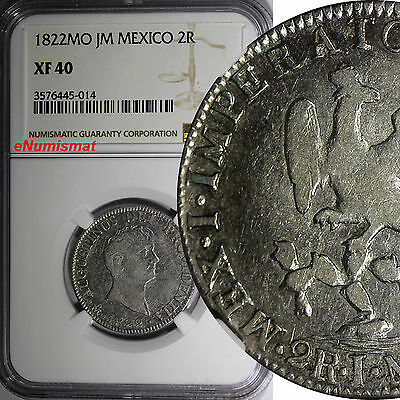 MEXICO Augustin I Iturbide Silver 1822 MO JM 2 Reales NGC XF40 KM# 303