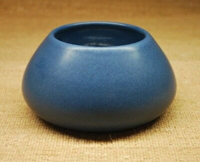 Antique Marblehead Art Pottery Arts and Crafts Mission Blue Matte Vase Bowl