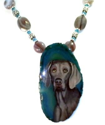 handmade Hand painted Weimaraner dog Pendant on SS link NKL w/ Apatite & Agate