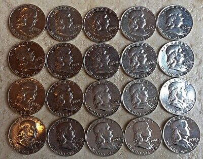 20 - Franklin Half Dollar - 90% Silver - $10 Face Value with Random Dates