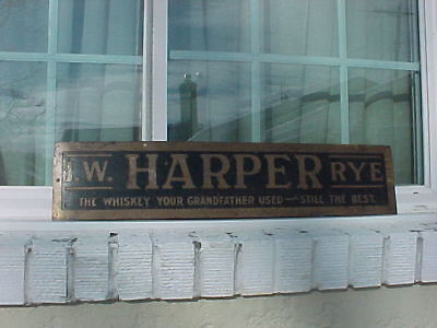 Early 1900`s embossed brass I.W.HARPER RYE whiskey sign, super rare, original