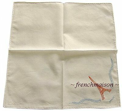 AUTH D.Porthault French EIFFEL TOWER Handkerchief New + Gift Box BOUGHT IN PARIS