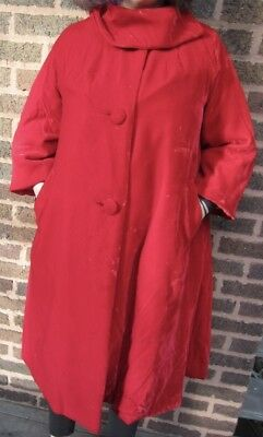 Christmas Vtge Red Velvet Coat w/ White Faux Fur Lining, Size 8; Be Mrs. Claus!