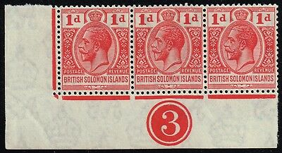 British Solomon Islands 1923 1d. scarlet, MH corner with plate nº 3 (SG#40)