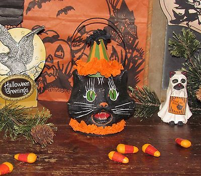 Old Tyme Vtg Style Halloween Paper Mache Cat Jack-O-Lantern Mini Bucket
