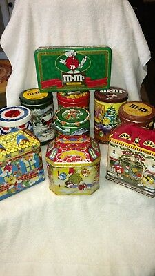M&M's Lot Of 10 Christmas & Miscellaneous Tins
