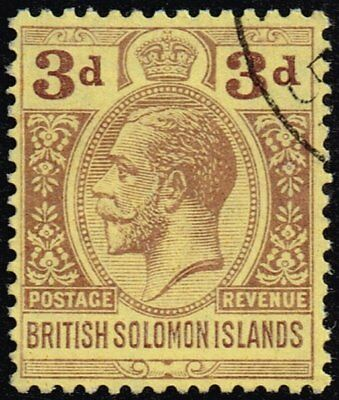 British Solomon Islands 1923 3d. purple / pale yellow, used (SG#28)