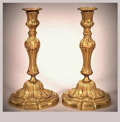 Pair of French  Louis XV Style Rococo Gilt Bronze Candlesticks, Ca.1870, 26 cm h