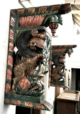 Wall Bracket Corbel Pair Temple Yalli Dragon Wooden Statue Sculpture Art Decor