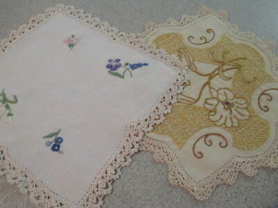 Vintage Retro Hand Embroidered Square Doilies. Old Fashioned Shabby Chic Charm.