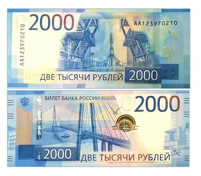 Russia 2000 Rubles 2017  P New -Aa Serial Number- Unc