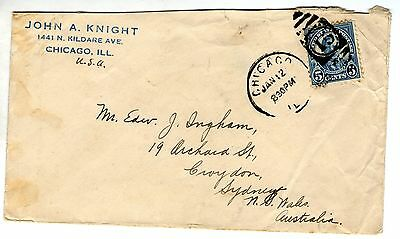 US 5c blue postage due stamp on envelope postmarked Chicago