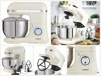6 Speed Stand Mixer Electric Food Blender with Beater Dough Hook Mixing Bowl 4L
