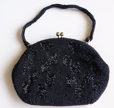Evening Purse. Black Beaded With Ball Clip Closing In Gold Tone - Beaded Strap.