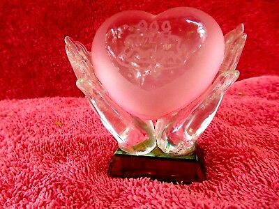 Attractive  Birthday  Glass  Heart  In  Pair  Glass  Hands  All  Glass  Ornament