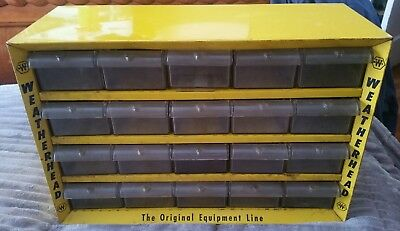 "Nice Vintage 20 Drawer Steel Weatherhead Counter Top Parts Cabinet 12"" X 18"""