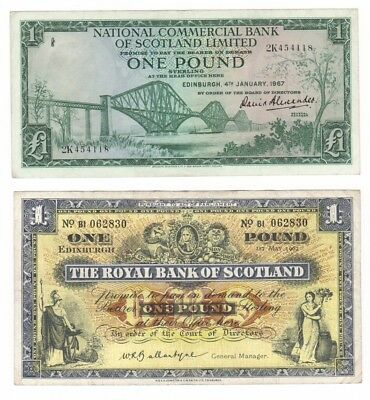 A pair of old £1 Banknotes from Scotland.
