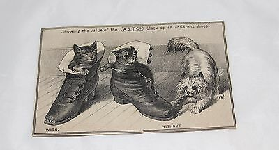 A.S.T. Co. Black Shoe Tip Trade Card Kittens Pup Alliance Ohio Free Shipping